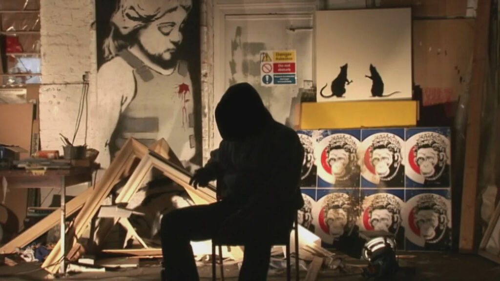Banksy makes an appearance in his documentary film Exit Through the Gift Shop