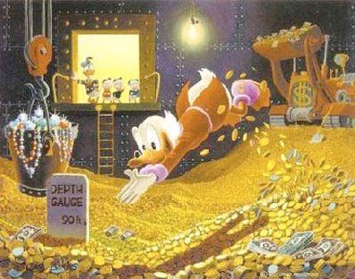 scrooge mcduck swimming through his vault of gold